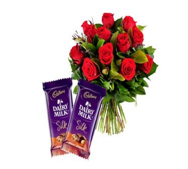 10 Red Roses and 2 Dairy Milk Silk