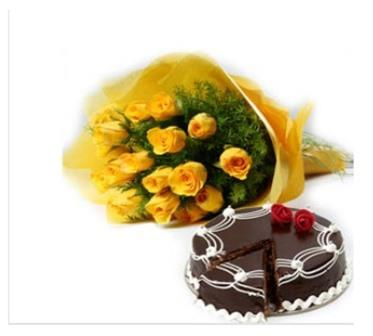 Yellow Flora and  Chocolate Cake