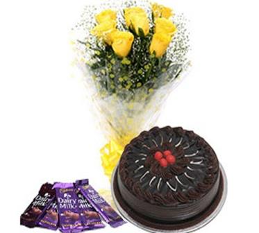 Yellow Flora, Chocolate Cake and 5 Dairy Milk