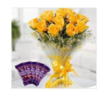 Yellow Roses Bunch Combo