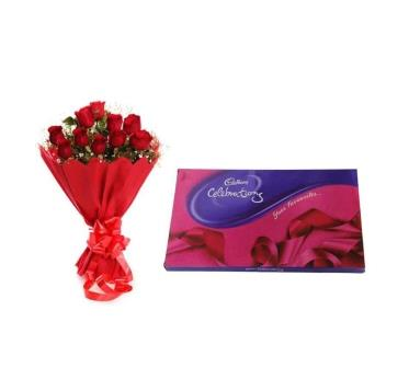 10 Red Roses Paper Bouquet with Cadbury Celebration